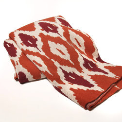 In2green Ikat Spice Eco Knit Throw - Ikat Spice throw is knit with a blend of recycled cotton yarn and made in the USA.
