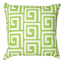 Pair of Pastel Green and White Greek Key Print Indoor / Outdoor Throw Pillows - This pair of 18 inch by 18 inch woven throw pillows adds a wonderful nautical accent to your home or patio. The pillows have ClimaWeave weatherproof exteriors, that resist both moisture and fading. The pillows feature the same pastel green and white Greek Key print on both front and back. They have 100% polyester stuffing. These pillows are crafted with pride in the Blue Ridge Mountains of North Carolina, and add a quality accent to your home.