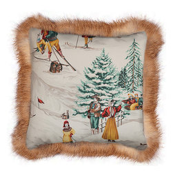 INUKT.com - Gijig - The fur trim adds a magic touch to this utterly charming wintry scene pillow. It will add the perfect finishing touch around your fireplace or cozy up a leather couch.