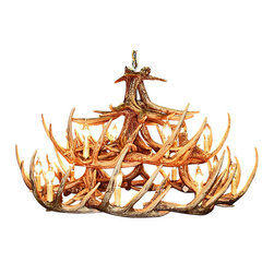 Muskoka Lifestyle Products - Rustic Whitetail Antler Chandelier - 24 Antlers 15 Lights - Our Rustic Whitetail 24 Antler Chandelier is the best faux antler chandelier available on the market. We have taken our replication process from our other rustic decor items and matched the authentic finish. Real antlers are used to model the reproduction for an exact and comparable result. The process to create the antler chandeliers uses a time proven, cast resin system to ensure perfection in every piece. We have hand-stained and antiqued each antler to achieve the exact comparable match to the real antler. Bring the perfect rustic decor to your home, cabin, or office with these antler chandelier reproductions. From the large majestic options to the quiet accent lights, our reproduction antler chandeliers are perfect for entry ways, pool tables, dining room tables, living rooms, offices, or anywhere you want to hang them to create the perfect, natural look in any room. All antler chandeliers are UL listed to ensure absolute safety, quality, and US building code parameters are met.