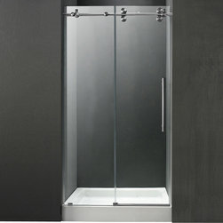 Vigo - 60in.  Frameless Shower Door 3/8in.  Clear/Stainless Steel Hardware with White B - Make your bathroom an oasis with a VIGO frameless shower door with matching 60in.  x 30in.  shower base.
