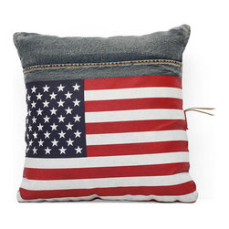 Zuo Modern - Zuo Cowboy Cushion in Blue Denim w/ USA Flag - Cowboy Cushion in Blue Denim w/ USA Flag by Zuo Modern Made from recycled denim fabric sewn into a whimsical design, the Cowboy Cushion in is a must for any room.   Cushion in (1)