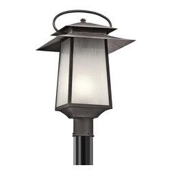 Kichler 1-Light Outdoor Post Mount - Weathered Zinc Exterior - One Light Outdoor Post Mount