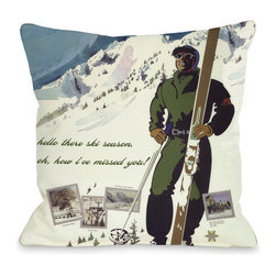 None - Hello There Ski Season Vintage Ski Throw Pillow - Add a great conversation piece with bright and fun throw pillows that will surely liven up any space!