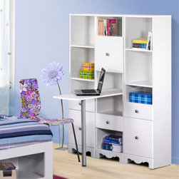 Nexera - Pixel Bookcase Storage Desk Multicolor - MFI366 - Shop for Childrens Desks from Hayneedle.com! The Pixel Bookcase Storage Desk looks cool and is incredibly versatile. This 3-piece bedroom essential includes two tall slender bookcases and a unique bookshelf that converts to a desk in a flash. The drawers and shelves are adjustable the desk has a sturdy metal leg for support and the open cubbies offer optimum space for display or extra storage. All pieces have a crisp white lacquer finish and modern scalloped design that is a perfect match to any bedroom style.About Megalak Finition Inc.Megalak Finition is a Canadian-based company specializing in quality ready-to-assemble bedroom office and entertainment furniture. Megalak Finition prides itself on creating personalized home furnishings as unique as you - furniture that allows you to create a space all your own. Look to Megalak Finition furniture to find your new style: eco-chic retro or glamorous. Megalak Finition provides stylish quality workmanship worthy of your home.