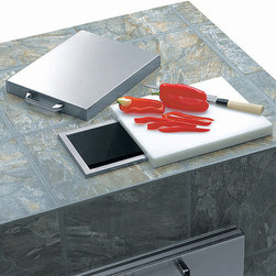 Frontgate - Lynx Countertop Trash Shute with Cutting Board and Cover - Handsome, heavy-duty stainless steel construction. Commercial style, slide-away cutting board and stainless steel cover. Lynx signature polished highlights. Of all the outdoor kitchen accessories you can use, the Lynx Countertop Trash Chute is the unsung hero. Offering a convenient and attractive option for trash disposal, this makes it easy to keep the grill area clean and tidy.  .  .  .