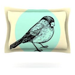"Kess InHouse - Sreetama Ray ""Old Paper Bird"" Teal Circle Pillow Sham (Cotton, 30"" x 20"") - Pairing your already chic duvet cover with playful pillow shams is the perfect way to tie your bedroom together. There are endless possibilities to feed your artistic palette with these imaginative pillow shams. It will looks so elegant you won't want ruin the masterpiece you have created when you go to bed. Not only are these pillow shams nice to look at they are also made from a high quality cotton blend. They are so soft that they will elevate your sleep up to level that is beyond Cloud 9. We always print our goods with the highest quality printing process in order to maintain the integrity of the art that you are adeptly displaying. This means that you won't have to worry about your art fading or your sham loosing it's freshness."