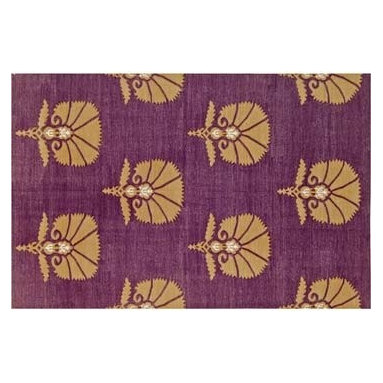 Madeline Weinrib Atelier Grape Otto Rug - Ground your room with this rich, hand woven rug by Madeline Weinrib Atelier. It's subtle gold and warm purple will add grand style and pattern to any room in your home.