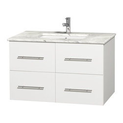 "Wyndham Collection - Centra 36"" Single Vanity in White, Countertop, Undermount Square Sink, No Mirror - Simplicity and elegance combine in the perfect lines of the Centra vanity by the Wyndham Collection. If cutting-edge contemporary design is your style then the Centra vanity is for you - modern, chic and built to last a lifetime. Available with green glass, pure white man-made stone, ivory marble or white carrera marble counters, with stunning vessel or undermount sink(s) and matching mirror(s). Featuring soft close door hinges, drawer glides, and meticulously finished with brushed chrome hardware. The attention to detail on this beautiful vanity is second to none."