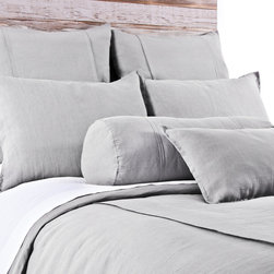 """Pom Pom at Home - Pom Pom at Home Louwie Silver Duvet Cover - Pom Pom at Home's bedding and accessories lend lived-in elegance to everyday experiences.�� The classic Louwie duvet cover delivers a sophisticated design to a bedroom. Two center flanges accent its soft and textured silver organic linen, offering a tailored aesthetic. Available in twin, queen and king sizes. Machine washable. Insert not included. Twin: 68""""W x 88""""H. Queen: 88""""W x 88""""H. King: 90""""W x 104""""H. 0.5""""W flange."""