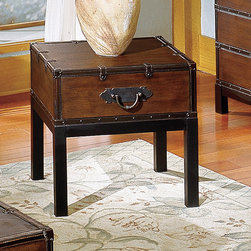 Steve Silver Furniture - Voyage End Table - Create a classic style with the brown Voyage trunk, cocktail and end table. This gorgeous coffee table has a rectangle shape and features a trunk style. With square legs this trunk has leather like finish in a rectangle shape and nail head trim around the bottom and the opening with a metal flap lock. The top is smooth with decorative leather like trim with straps and metal pulls on the sides. This Voyage dark brown coffee and end table will bring a decorative charm to any home decor. Features: -Voyage collection. -Multi-Step Antique Cherry finish. -Contemporary style. -Corner blocked. -Tongue and groove joints. -Leather-like finish with nail head trim. -Straps and metal pulls. -Square legs. -Manufacturer provides one year limited warranty.