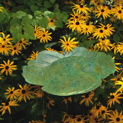 Ancient Graffiti - Greenleaf Birdbath - Greenleaf Birdbath adds a magnificent functional accent to the yard. Comes with antique bronze stand. Diameter of the leaf is 15 inches. The deepest part is 5 inches. It comes with a stake that steps in the ground.