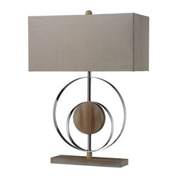 Dimond Lighting - D2297-LED Shiprock Table Lamp, Bleached Wood with Chrome Finish - Modern Contempo Table Lamp in Bleached Wood with Chrom Finish from the Shiprock Collection by Dimond Lighting.