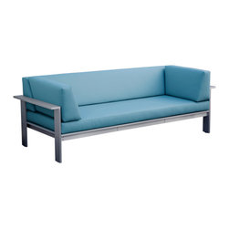Luma Outdoor Sofa, Mineral Blue - The Luma Sofa by Modern Outdoor crafted with marine-grade anodized aluminum and a dolphin grey polyboard surface with mineral blue upholstery. Geometrically-inspired design and environmentally-sustainable materials. Readily customizable furniture pieces that are made in America. Perfect for coastal environments!
