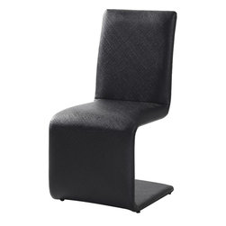 "Casabianca Furniture - Belle Dining Chair in Black - Glamorous and comfortable dining chair made with high quality materials.; Leatherette, high density foam and metal; Weight: 19 lbs; Dimensions: 16 1/2""W x 21""D x 34""H, Seat Height: 18 1/4"""