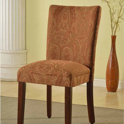 None - Classic Parson Red/ Gold Damask Fabric Dining Chair - Complement your dining table with this stylish fabric dining chair. Its fabric is designed in hues of red and gold,ensuring a perfect match with any wooden table finish. Its solid wood legs and frame ensures a sturdy chair that can stand constant wear.