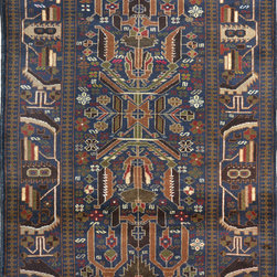 """ALRUG - Handmade Navy Blue Oriental Tribal Baluchi Rug 3' 7"""" x 5' 11"""" (ft) - This Afghan Baluchi design rug is hand-knotted with Wool on Wool."""