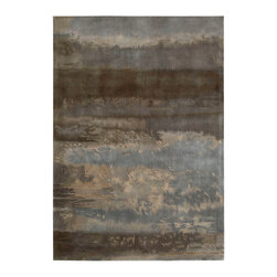 Calvin Klein Home - Calvin Klein Home CK10 Luster Wash SW12 3' x 5' Slate Area Rug 55732 - A loosely rendered composition using a watercolor-like technique featuring gently floating forms and a modulated patches of shaded grey palette inspired by nature.