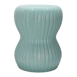 Safavieh - Light Aqua Hour Glass Garden Stool ACS4518C - Sculpture beauty for the patio, garden or living room, the Hour Glass Garden Stool is a study in serenity with light aqua glaze on textured ceramic. Use this charming piece as extra seating, as a handy side table or place several in a cluster for drama indoors or out.