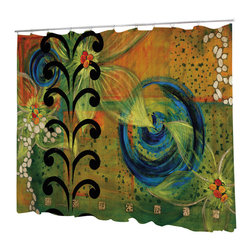 Uneekee - Uneekee Kelp Forest Shower Curtain - Your shower will start singing to you and thanking you for such a glorious burst of design as you start your day!  Full printing on the front and white on the back.  Buttonhole openings for shower rings.