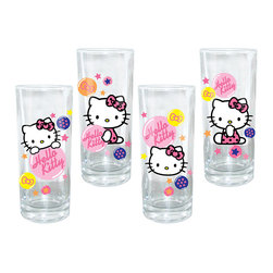 Hello Kitty - Hello Kitty Bubble Glass Set - Hello Kitty isn't only for kids—she also makes the perfect dinner date well into adulthood. This adorable set of glasses will always add a nostalgic smile to a sip of juice, milk or water.   Includes four glasses 6'' H x 2.5'' diameter Holds 10 oz. Glass Hand wash Imported