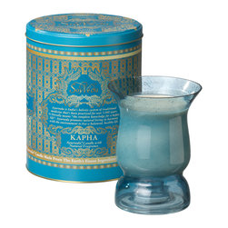 Everybody's Ayurveda - Kapha Multi Purpose Ayurvedic Candle in Hurricane - Blue - This Kapha-balancing fragrance inspires invigoration. Multi-Purpose Hurricane Candle in Keepsake Tin; Our multi-purpose glass hurricane vessel comes filled with 100% natural soy wax. Once the candle is enjoyed, fill the vessel with warm soapy water to remove soy and the candle's sustainer. Gently wipe clean. The candle's holder turns into a candle holder after use. Inverted, the vessel accomodates a taper, tea light or pillar candle. Re-purposing the candle's vessel helps to reduce post-consumer waste. Our candle comes packaged in a keepsake tin, and includes a booklet about Ayurveda - living in harmony with nature. Approximate burn time: 50 hours. Each candle is 6in. tall x 4.75 in diameter. Container is 6.25 in. x 8 in. tall.