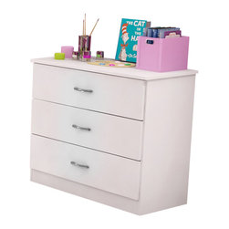 South Shore - South Shore Libra Kids 3 Drawer Chest in Pure White Finish - South Shore - Kids Dressers - 3050033 - The Libra Three Drawer Chest is constructed from laminated engineered wood and has a pure white finish. It features three drawers for ample storage sleek metal handles simple lines and rounded corners for maximum safety. Distinctly contemporary in style the Libra Three Drawer Chest will fit comfortably in your kid's bedroom.Features:
