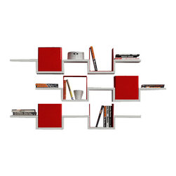 Decortie - Ales Wall Shelves, White - Red - Colorful and contemporary, the Decortie Ales Wall Shelf is beautifully unique in design. Featuring three tiers with two drop downs on each shelf fitting versatile casing that can be used to hide your objects or create a background for them. This piece would look stunning in a living environment, holding literature, art and object.