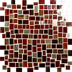 "Glass Tile Oasis - Bonfire Unique Shapes Red Melange Jolie Glossy Glass - Sheet size:  Approx 1.10 Sq. Ft.     Tile Size:  Unique Shapes     Tiles per sheet:  252     Tile thickness:  1/8""      Grout Joints:  1/8""     Sheet Mount:  Mesh Backed     Some Victorian colors contain Silver and/or Gold Metal pieces that may react/discolor over time if exposed to pool chemicals.   Sold by the sheet      - Bring bold  dazzling style to any space with Victorian  a collection made from vibrant stained glass. This series stands out for its beautiful patterns and meticulous attention to detail. The mesh-backed tiles come in varying sizes depending on the design  and they are suitable for variety of interior and outdoor spaces."