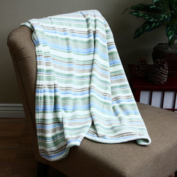 None - Micro Raschel Stripe Blanket - Keep this soft microrashel striped blanket close by for constant comfort and warmth. The fashionable stripe pattern effectively combines white,brown,blue,and green with a self-binding edge to match a variety of styles and is machine washable.