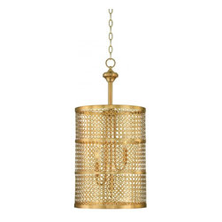 Joshua Marshal - Three Light Rubbed Brass Open Frame Foyer Hall Fixture - Three Light Rubbed Brass Open Frame Foyer Hall Fixture