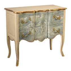 French Heritage - Roanne Chest, Ivory Frenchoiserie - This is not another light French romance. This classically designed chest is crafted to work beautifully in your bedroom, hallway or living room for many years to come. That it sports a scene-stealing little ménage à trois on the front only adds to the intrigue.