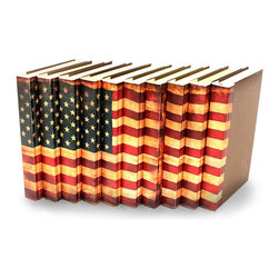 USA Flag Books - Set of 10 - You can, indeed, judge a book by its cover. A visually striking set of decorative tomes, the USA Flag Books - Set of 10 make an impressive graphic statement when placed upon a shelf in an eclectic great room, a window ledge in a home office, a fireplace mantel embellished with objects d'art, or glass-fronted armoire in a personal library.