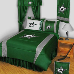 Sports Coverage - Dallas Stars NHL Sidelines Complete Bedroom Package - Twin - Save big and show your NHL team spirit with Dallas Stars Sidelines Complete Bedroom Package which includes a Comforter, Micro Fiber Sheet set, Shams, Pillows, Bedskirt, Drapes and Valance! Buy the complete Bedroom Package and save off our already discounted prices - the best we could find; when you buy the complete bedroom package instead of each piece separately, you save and save big.   Microfiber 100% polyester Hem Sheet sheet sets have an ultrafine peach weave that is softer and more comfortable than cotton, the entire width of the extra deep 4 1/2 hem of the flat sheet. Bedskirt available in team color with no team logo printed on them.  Includes:  -  Comforter - Twin 66 x 86, Full/Queen 86 x 86,    -  Flat Sheet - Twin 66 x 96, Full 81 x 96,    - Fitted Sheet - Twin 39 x 75, Full 54 x 75, ,    -  Pillow case Standard - 21 x 30,    - Pillow Sham - 25 x 31,    -  Bedskirt - Twin 76 x 39, Full 76 x 54, ,    - Window Drapes: 82x 63 ,    - 18 Toss Pillow ,    -  Window Valance : 88 x 14 ,
