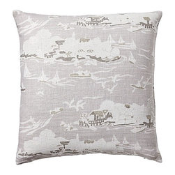 Serena & Lily - Skylake Toile Pillow Cover Bone - Our take on classic toile, twisted a few degrees for that fun factor. We left the countryside to go lakeside and went bold with scale. The result? A look that's fresh and familiar in neutral shades of bone, flax and bark.