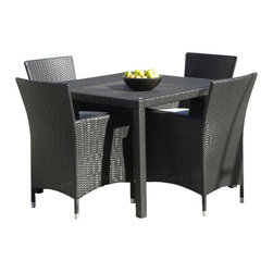MangoHome - Outdoor Patio Wicker Furniture All Weather Resin 5-Pc Dining Table & Chair Set - ps within 15 days