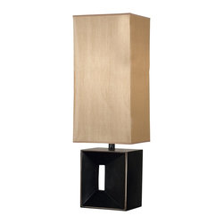Kenroy - Kenroy 03305AMB Niche Contemporary Table Lamp - A tall rectangular shade creates a heart warming lantern-like column of glowy fabric, suspended over a sculptural base.  Niche will find just the right place to stand in a contemporary setting offering high art with modern simplicity.