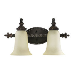 Quorum International - Quorum International 5386-2 Two Light Bathroom Fixture from the Alameda Collecti - Two Light Bathroom Fixture from the Alameda CollectionCrafted in the tradition of Old-World European design, the Alameda family recalls the romance of centuries-old architectural detailing. Scrolling, rope-wound arms add a touch of femininity to the rustic creation, and soft, ethereal light radiates from the waxy pillar candle-style light source. The oiled bronze ironwork contrasts with the ivory hue of the pillar candles to create rich depth and a warm sensory experience.Features: