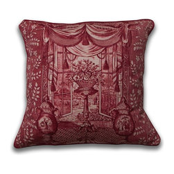 Mary Jane McCarty Studio - Ming Urn Pillow, Rouge, Cover Only - The pillow cover is made from The Mary Jane McCarty Studio collection of fabrics. The fabrics have been  re- created from 19th century document textiles . The pillow is backed with a coordinating natural Belgian linen and features an envelope closure. Please allow 2 to 3 weeks for delivery as pillows are made to order. Can be purchased as cover only or with insert.