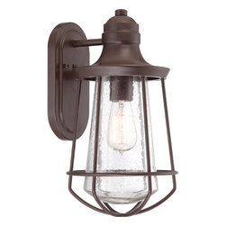 Quoizel - Marine Western Bronze 15-Inch One Light Outdoor Wall Fixture - - Bulb Included  - Install Position: Downwards  - Cord Length: 6 Inches  - Glass/Shade: Clear Seedy Quoizel - MRE8408WT