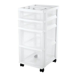IRIS USA, Inc. - 4-Drawer Cart with Organizer Top and Casters - This cart offers a modern look with functionality of 2 shallow and 2 deep drawers as well as an organizer top. Great for storing items in the home, office or hobby room. Includes casters and built-in drawer stops.