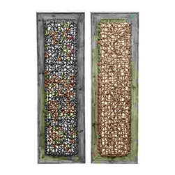 UMA - Abstract Knots Wood Wall Panels Set of 2 - These two panels each feature a maze of textural knots in color variations displayed on pickled wood frames.