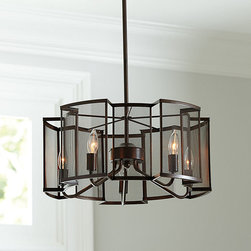 Ballard Designs - Julian 5-Light Pendant Chandelier - A unique take on industrial style. Substantial look. Perfect for a transitional kitchen or dining room. Hand crafted entirely of steel, our Julian Pendant features mesh screens that front each bulb, giving transparency to the light within while filtering its warm glow. Its dark bronze finish and squared lines give it modern edge.Julian 5-Light Pendant Chandelier features: . . .