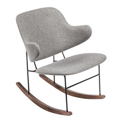 The Fosnavag Wood molded shape with wool upholstery Rocker - Wood molded shape with wool upholstery hand stitched on steel supports and walnut wood sleighs