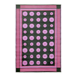 Achla - Berry Dots Floor Mat - Color the ground you walk or sit on with these polyurethane woven floor mats. Spread them out at the beach, on the porch, floors in the kitchen and childrens rooms or hang them on the wall. Soft on the feet and easy to wipe clean. We recommended using carpet tape to hold them in place indoors. Our mats are made to last, but like everything else, we need to take good care of them. Ideally they should be kept rolled when not in use. Try to avoid leaving mats exposed to sun or rain for long periods of time. Wash by hand and allow to drip dry. Polyurethane, woven floor mats. Used both Indoor and Outdoor. Construction Material: Plastic. No Assembly Required. 48 in. W x 72 in. D x 0.25 in. H (3 lbs.)