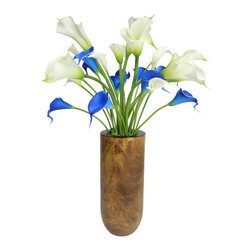"The Firefly Garden - Buttercup - Illuminated Floral Design, Blue and White, Mango Wood Vase - Buttercup is inspired by the classic 60's tune ""Build Me Up, Buttercup. This simple yet classic contemporary arrangement features illuminated and real touch calla lilies and tulips."