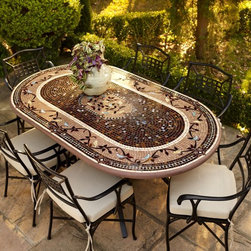 Provence Oval Bistro Table Outdoor Bistro Furniture - Our expressive and masterful Provence Mosaic Tabletops from Neille Olson's KNF boast iridescent waves of color, deep sophisticated hues, fresh designs and durability measured in decades. These qualities separate Olson's celebrated mosaic tabletops from the ordinary--giving each outdoor furniture piece its own unique character.
