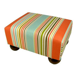 Lava - Sea Stripe Footstool - Upholstered footstool with wooden bun feet and polyurethane foam fill. Measures 15 x 12 x 7. Spot clean only. Handcrafted in USA.