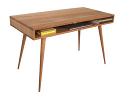Jeremiah Collection - Mid Century Desk With Wood Legs, 60 L X 24 W X 29 H - This is a simple box design desk that provides a spacious work top and storage below for your laptop, pencil box and whatever else you need to stash behind them. This desk is available in white oak. This desk sits on solid wood tapered legs attached to wood cleats for sturdiness and longevity.