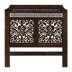 """Home Decorators Collection - Maharaja Headboard - The intricate, handcarved details of our Maharaja Headboard offer timeless style. Featuring two rows of repeating patterns above two elaborately carved panels, this piece will be the focal point of your bedroom. Fits queen size beds. Handcrafted of solid Himalayan sheesham wood. Installation requires four 3/8"""" x 2"""" machine screws and four nuts, not included."""